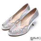 DIANA精品工藝-- 巴黎女伶水鑽微透明魚口跟鞋 –銀