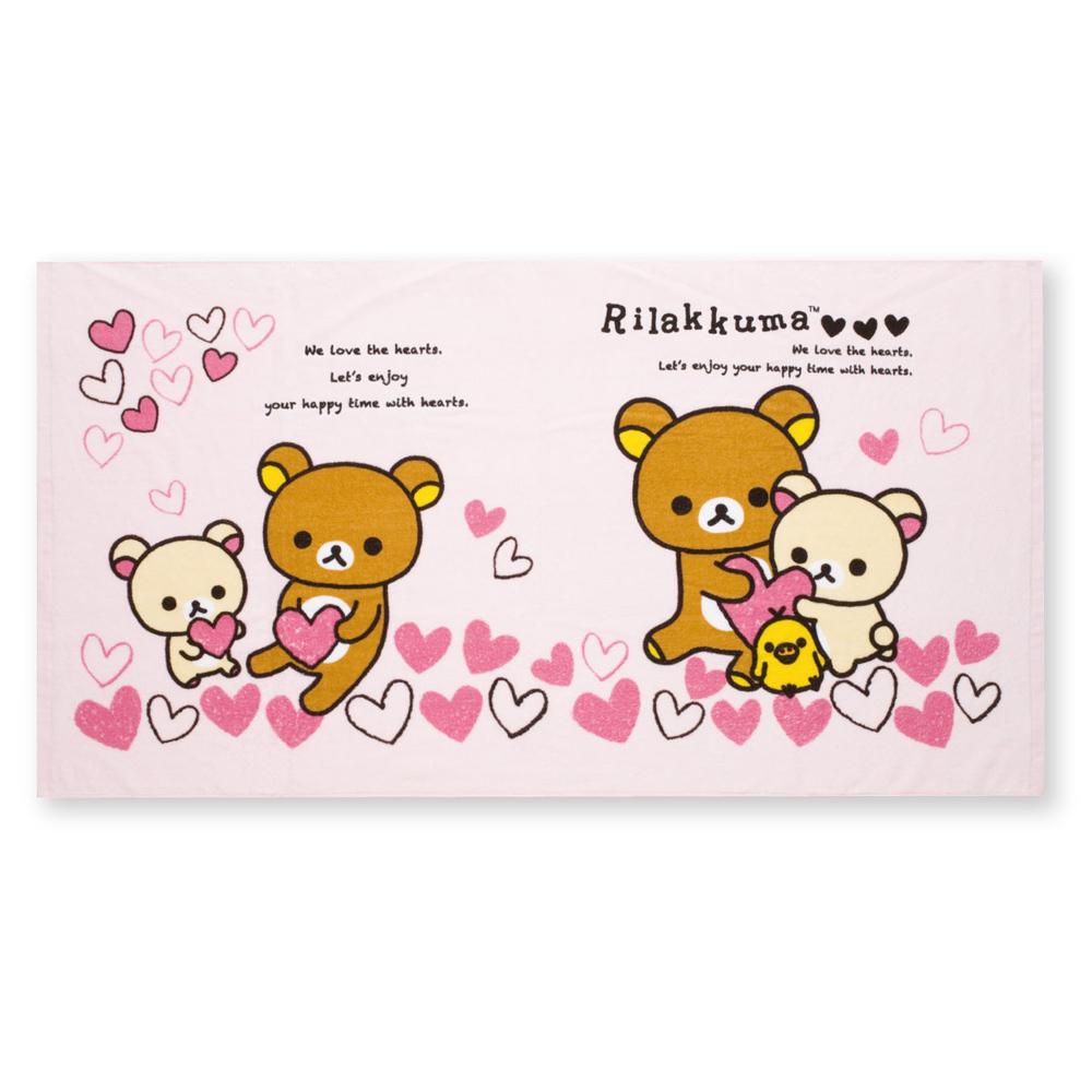 拉拉熊紅粉愛心系列中浴巾 (M)