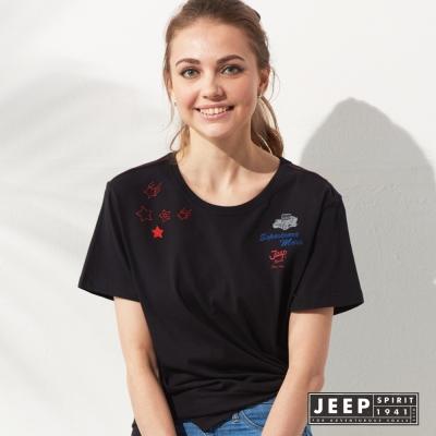 JEEP 女裝 造型圖騰刺繡短袖TEE (黑色)
