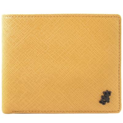agnes b.黑蜥蜴防刮男短夾/含錢袋(芥黃)