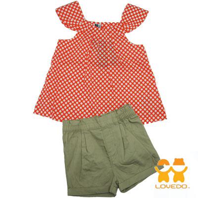 【LOVEDO-艾唯多童裝】夏日繽紛點點 短袖短褲兩件組套裝(桔)