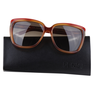 FENDI 經典LOGO字樣雙色太陽眼鏡(紅邊/咖啡)