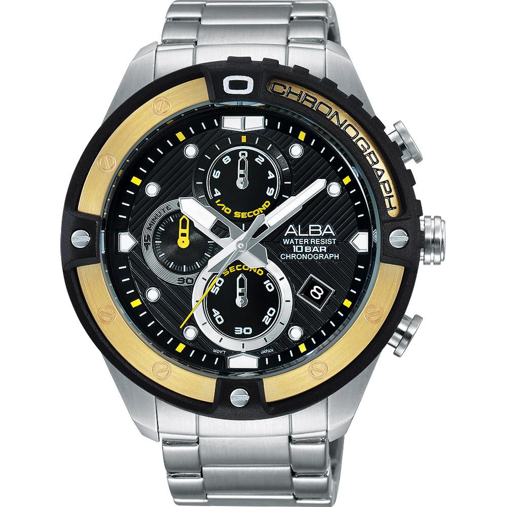 ALBA ACTIVE 活力運動時尚計時腕錶(AM3324X1)-黑/46mm
