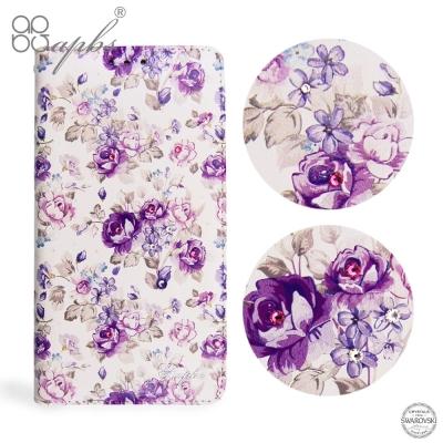 apbs Sony Xperia XZ Premium 施華洛世奇水晶鑽皮套-紫...