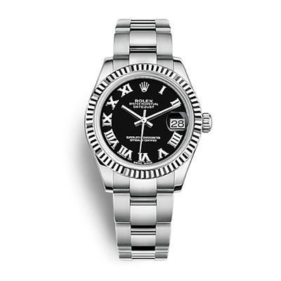 ROLEX 勞力士 178274蠔式女錶日誌型自動上鍊黑面羅馬-31mm