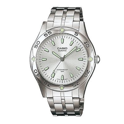 CASIO 時刻夜光時尚不鏽鋼腕錶(MTP-1243D-7A)-銀白/40mm