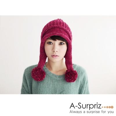 A-Surpriz 甜美佳人大毛球辮子毛線帽(紅色系)