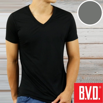 BVD 沁涼舒適酷涼 V領短袖衫(灰色2入組)-台灣製造