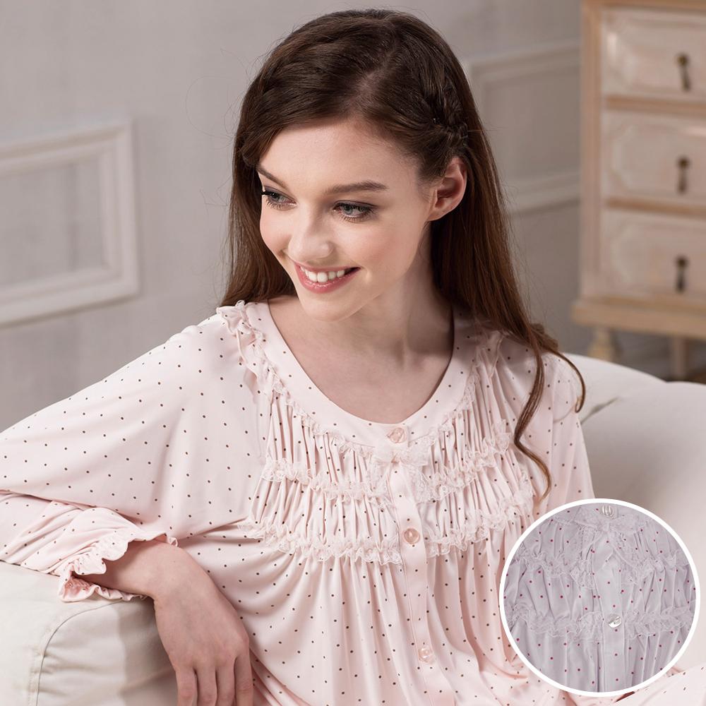 羅絲美睡衣 - 點點蜜糖天使長袖褲裝睡衣 (粉紫色)