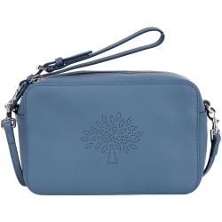 MULBERRY Blossom 小牛皮點狀圖騰手拿/斜背包(灰藍色)