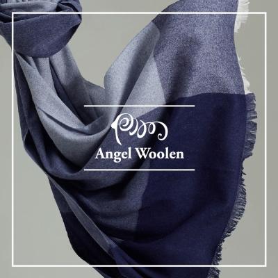 ANGEL WOOLEN 極簡美學100%Cashmere羊絨披肩 圍巾-藍