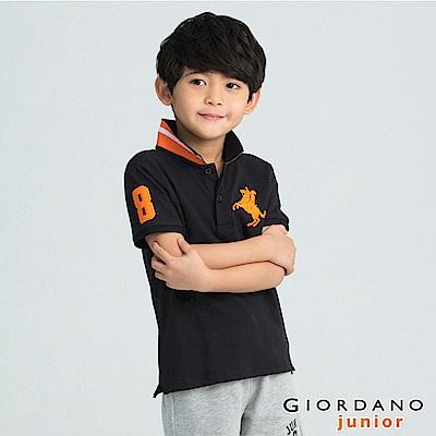 GIORDANO 童裝拿破崙刺繡短袖POLO衫-86 標誌黑