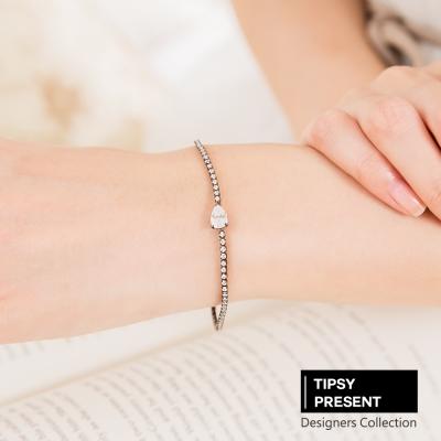 微醺 禮物 韓製 頂級鋯石 銅鍍 16 K金  1 . 5 mm 黑鍊水滴 細緻手鍊