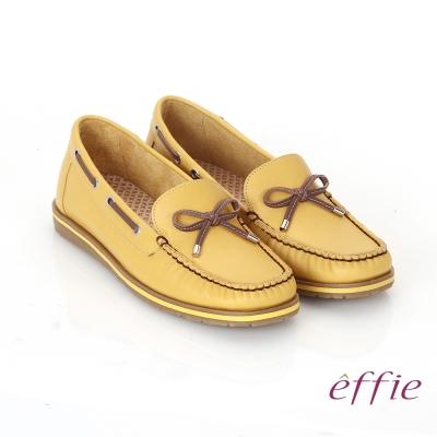 effie 縫線包仔鞋 真皮穿繩奈米樂福平底鞋 黃