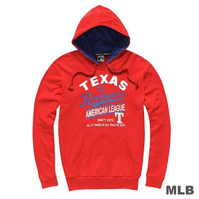 MLB-德州遊騎兵隊連帽配色印花長袖厚T恤-紅(男)