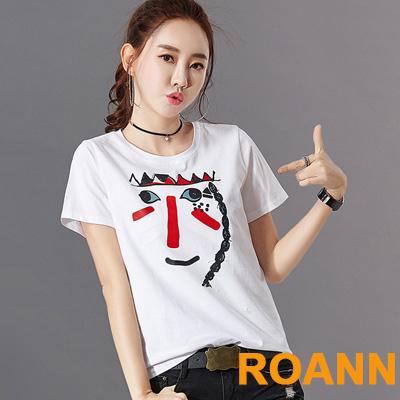卡通笑臉圖紋圓領T恤 (共四色)-ROANN
