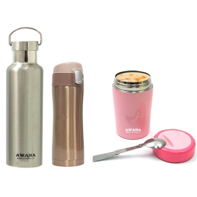 手提運動瓶600ml(不鏽鋼)+彈跳杯360ml(金)+悶燒罐500ml(粉)