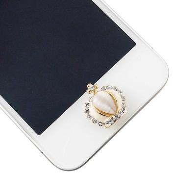Miravivi iPhone/ iPad/ iPod水鑽立體系列home鍵貼-貓眼石皇冠