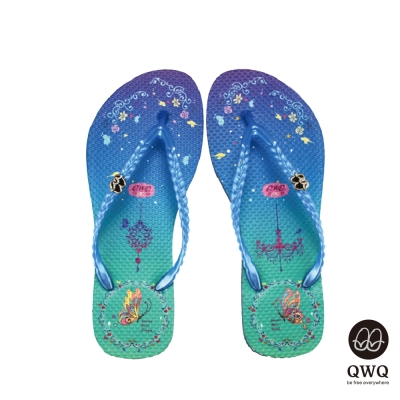 QWQ夾拖的創意(女)-空中園側鑽夾腳拖-藍