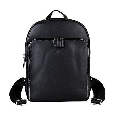 LONGCHAMP經典BAXI系列壓印LOGO牛皮拉鍊後背包(黑)