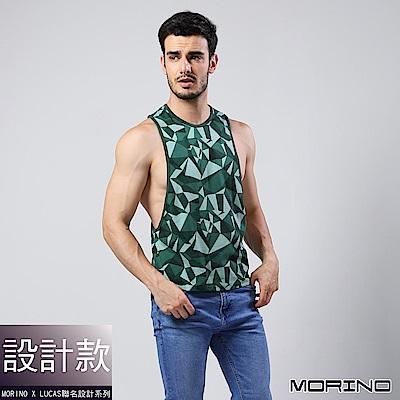 男內衣 設計師聯名-幾何迷彩時尚健身開衩背心--綠色 MORINOxLUCAS