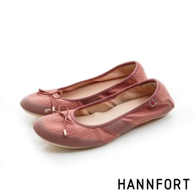 HANNFORT FLEX360蝴蝶結緹花娃娃鞋-女-豆沙紅