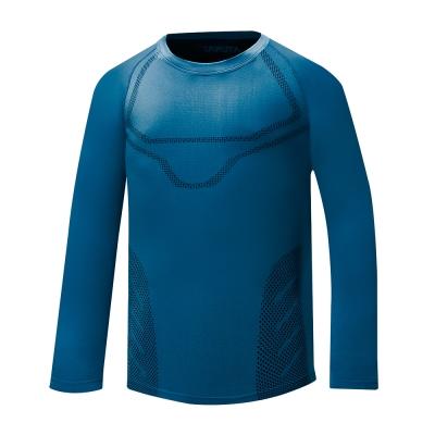 【ATUNAS 歐都納】男款質輕快乾透氣無縫貼身長袖內著衣 A-U1615M 藍