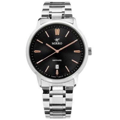 MIRRO 米羅 藍寶石水晶玻璃 日期視窗 不鏽鋼手錶- 黑色/42mm