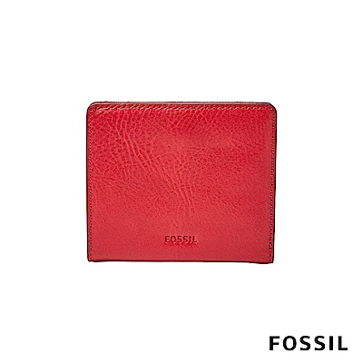 FOSSIL EMMA 真皮RFID迷你短夾-紅色