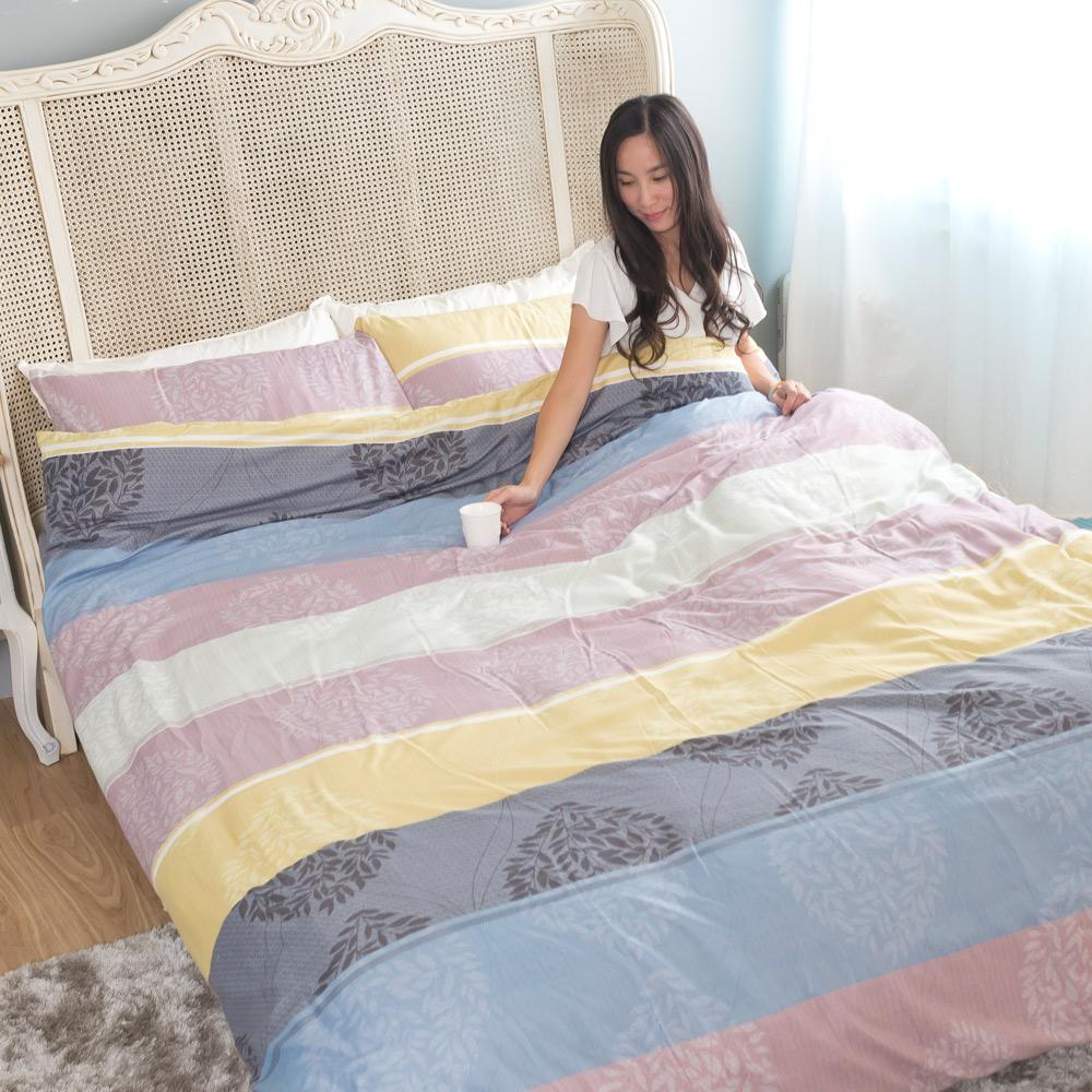 台灣製吸濕排汗系列SG 使用3M藥劑處理細緻柔絲綿 單人床包枕套二件組 葉戀夜曲