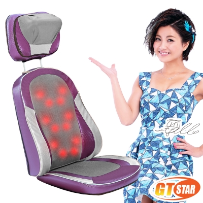 GTSTAR 全開背12顆溫熱按摩頭按摩椅墊頸部揉捏款 - 紫色