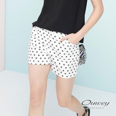 OUWEY歐薇-夏季休閒星星印花短褲-白