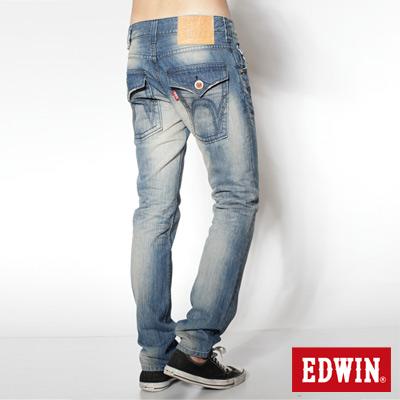 EDWIN 503 B.T Hawaiian風情經典袋蓋中直筒牛仔褲-男款(漂淺藍)