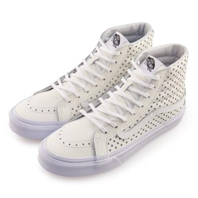(女)VANS SK8-Hi 側邊星星8孔扁線高筒休閒鞋*白色