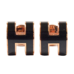 HERMES 經典H LOGO橢圓銀飾耳環.玫瑰金/黑