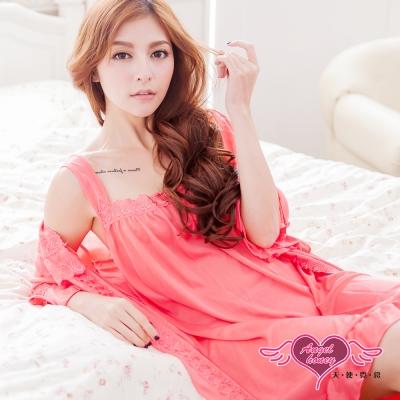 罩衫睡衣 甜蜜春漾兩件式外罩睡衣組(深粉F) AngelHoney天使霓裳