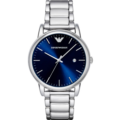 EMPORIO ARMANI Classic 簡約時尚套錶-藍/42mm