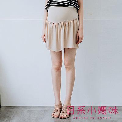 日系小媽咪孕婦裝-孕婦褲~撞色雪紡裙襬短褲裙 M-XL (共二色)