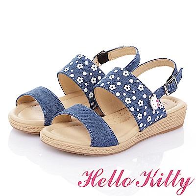 HelloKitty 牛仔布系列 手工鞋紓壓超纖休閒涼鞋童鞋-藍