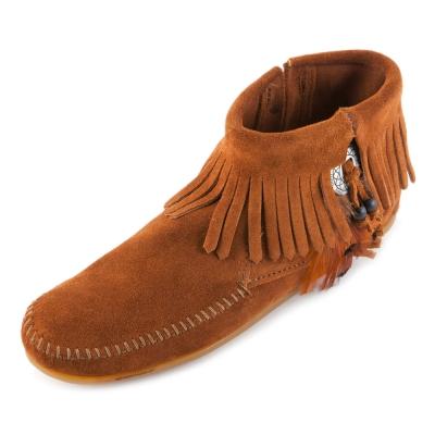MINNETONKA-FEATHER麂皮流蘇羽毛踝靴-紅棕色