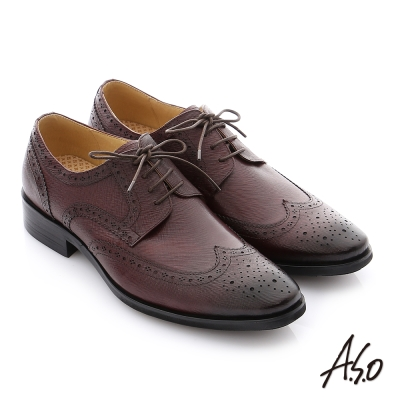 A.S.O 3D超動能 牛皮綁帶真皮奈米紳士鞋 酒紅色