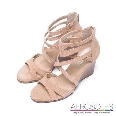 AEROSOLES-原色交叉編織繫踝楔型涼鞋-裸色