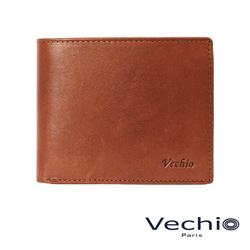 VECHIO - 紳士商務款原皮系列12卡中間翻透明窗皮夾 - 楓葉褐