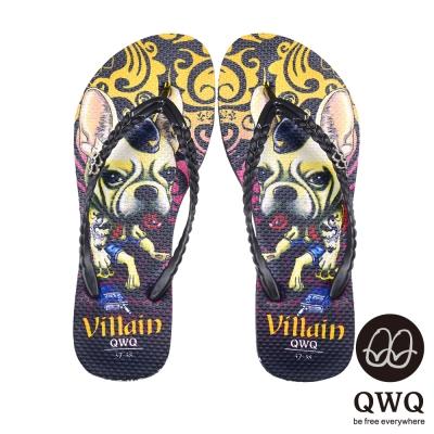 QWQ夾拖的創意(女) - 狗狗塗鴨 Villain Dog夾腳拖鞋-壞壞黑