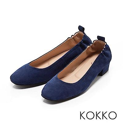 KOKKO - 輕甜好感真皮方頭素面粗跟鞋-寶石藍