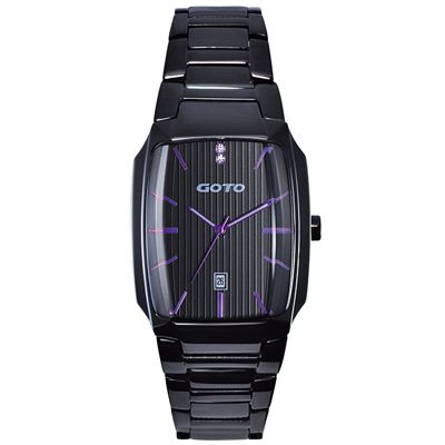 GOTO Laconic時尚腕錶-黑x紫/34mm