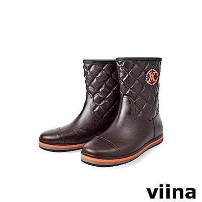viina 中筒菱格紋雨靴-咖啡色