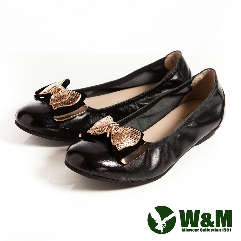 W&M 金屬片蝴蝶結優雅時尚好穿搭柔軟平底鞋-黑