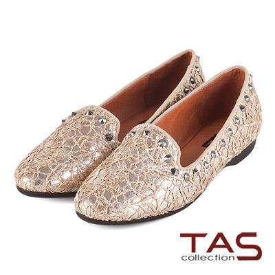 TAS-鏤空蕾絲混搭個性鉚釘樂福鞋-亮卡其