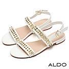 ALDO 原色寬版雙排方型鉚釘拉帶式粗跟涼鞋~氣質白色